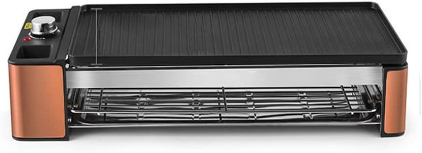 SKJ Máquina de barbacoa Hogar sin humo Doble Barbacoa Parrilla Placa Pincho Plancha de hierro a la parrilla Barbacoa Carne 42 × 12cm-55 × 12cm Barbacoa (Size : L)
