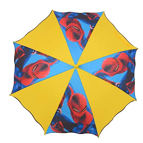 Kid's Cartoon Umbrella No Drip Hook Handle Stick boys' Girls Umbrella Brolly Sun Rain (ruffled spider)