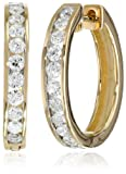 14k Yellow Gold Channel-Set Diamond Hoop Earrings (1 cttw, H-I Color, I1-I2 Clarity)