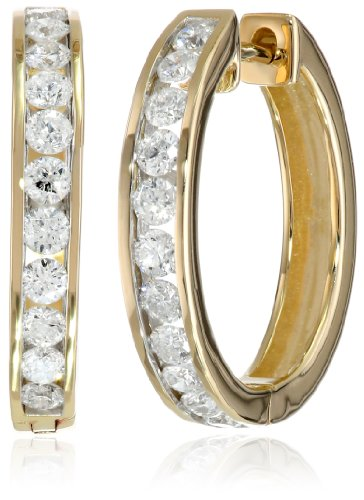 14k Yellow Gold Channel-Set Diamond Hoop Earrings (1 cttw, H-I Color, I1-I2 Clarity) by Amazon Collection