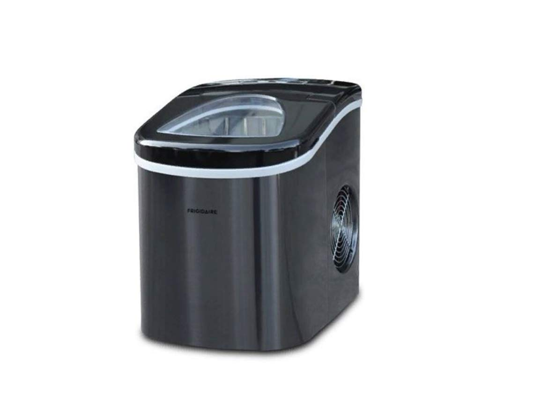Frigidaire EFIC117-SSBLACK-COM EFIC117-SSBLACK 26 Lbs Portable Compact Maker, Black Stainless Steel Ice Making Machine, Medium (Renewed)