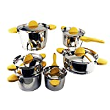 Berghoff Hotel 18/10 Stainless Steel Cookware Set, 11pcs Durable Multi-Purpose Cookware, Dishwasher Safe - Yellow