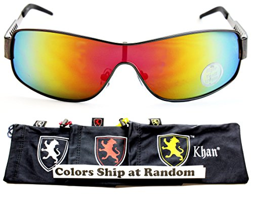 A178-kp Khan Lion Logo Turbo Aviator Metal Sunglasses W Gray Pouch (P2408C Gunmetal-Amethyst Rainbow Mirror, - Logo M Sunglasses
