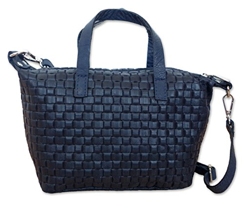Posh Gear Bolso de las señoras Borsettalinda 100% cuero Made in Italy 25x17x11 (A x A x P) Azul