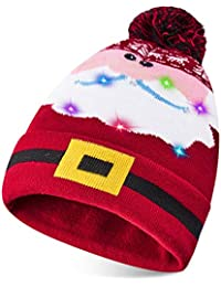 ALISISTER Ugly Led Christmas Hat Beanie Women Light Up Warm Wool Santa Claus Caps for Men Winter Pom Cable Knit Funny Merry Xmas Reindeer Cuff Beanie Cute Holiday Home Party Test Gift Lightweight