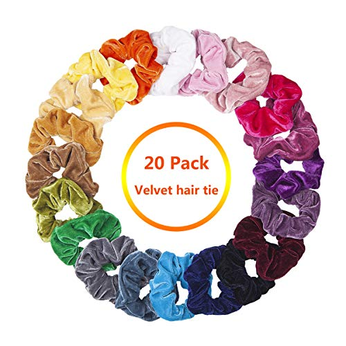 - Velvet Scrunchies, CUTEFA 20 Pack Colorful Big Scrunchies for Hair Large Velvet Hair Ties Scrunchy Bobble Hair Bands