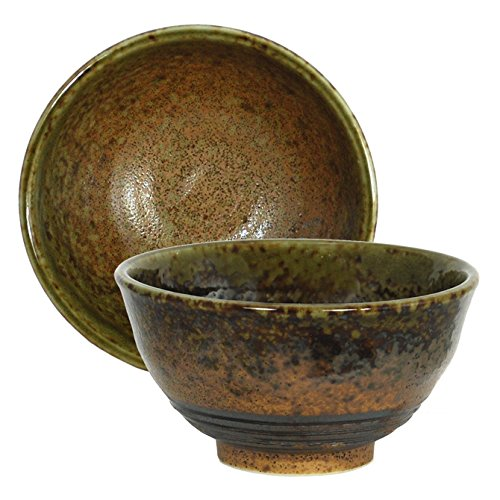 1 Piece of Japanese 4.75'' Diameter Ceramic Rice Soup Bowl, Green Brown Rust Minokodo Pattern Design by Yokohama Gifts