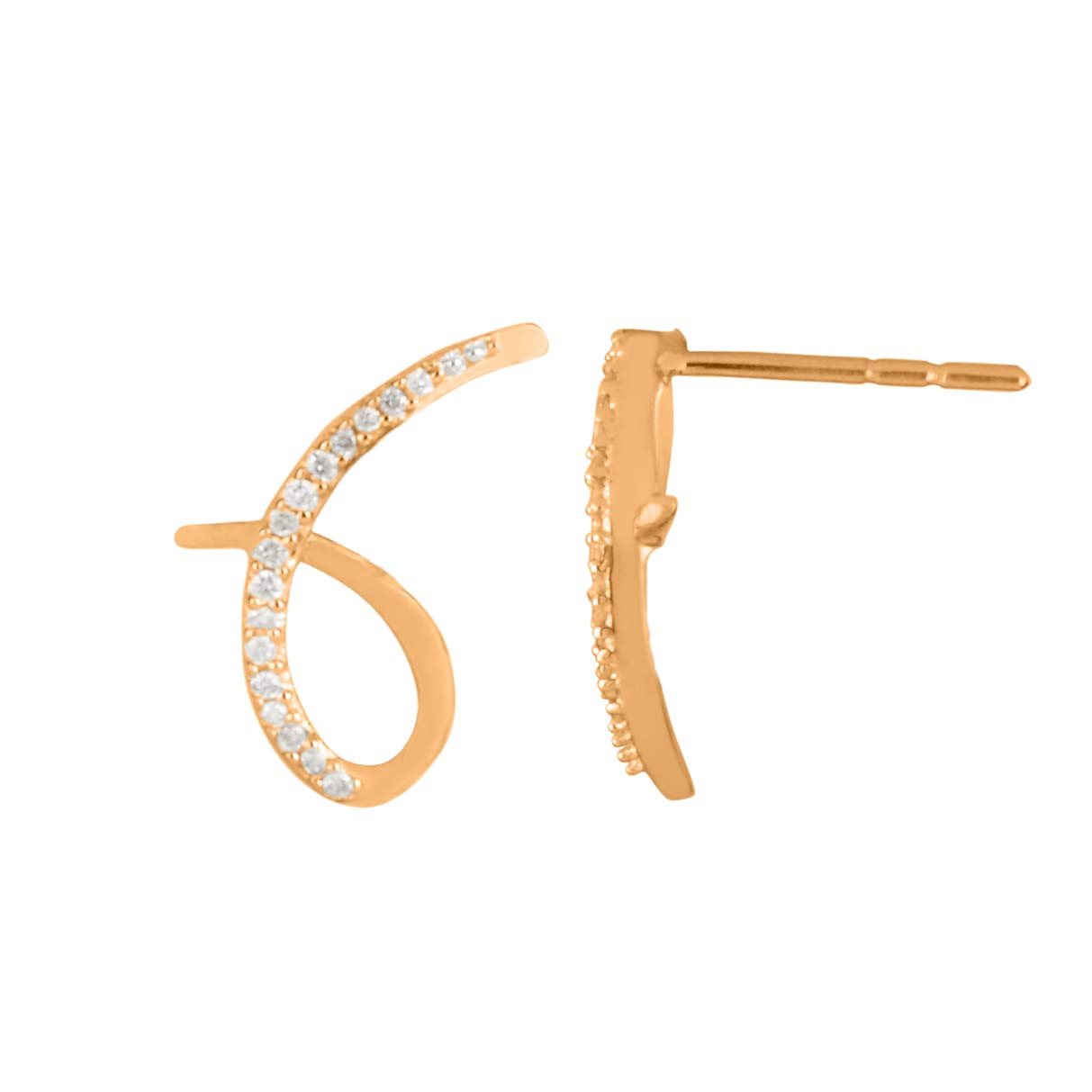 DTJEWELS 4.08 Carat Sim Diamonds White Pearl Girls Stud Earrings In 18K Gold Plated 925 Sterling Silver