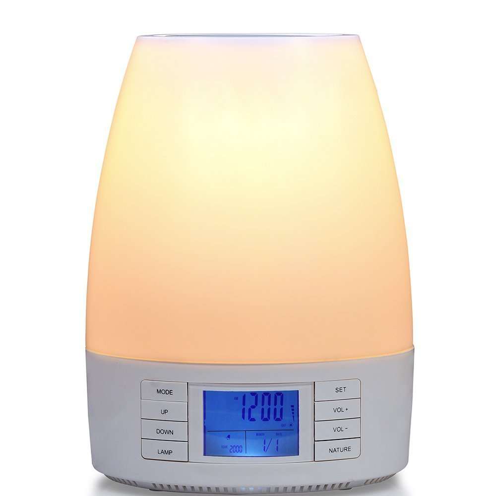 Captivating Amazon.com: Hangsun Wake Up Light Sunrise Alarm Clock ISunny S80 LED Night  Lamp With 7 Natural Sounds FM Radio APP Control (White): Electronics