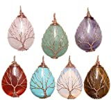 Top Plaza Wire Wrapped Tree of Life Natural Gemstone Teardrop Pendant Necklace Healing Crystal Chakra Jewelry for Women