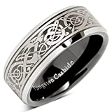 Tungsten Ring For Men Black Wedding Band Celtic Dragon Engraved Engagement Promise Beveled Size 8-15 (15)