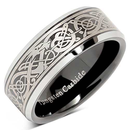 100S JEWELRY Tungsten Ring for Men Black Wedding Band Celtic Dragon Engraved Engagement Promise Beveled Size 8-15 (11)