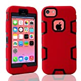iPhone 5C Case,LUOLNH Luxury High Impact Triple Layer Hybrid Durable Shockproof Combo Case Cover for Apple iPhone 5C (Red+Black)