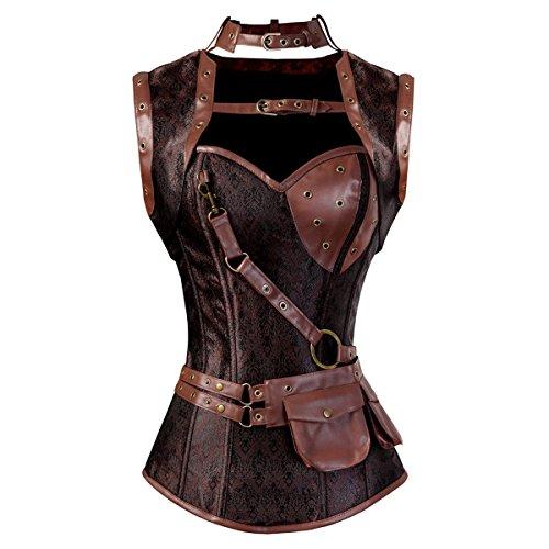 Women's Steampunk Rock Corset Bustier Gothic Waist Cincher Bustier Lingerie 3X-Large Brown -