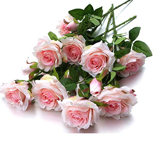 Mixed Blooms & Buds Silk Princess Rose Spays, 4PK Bundle, Faux Flower & Greenery Stems for Indoor Outdoor Wedding Home Decor (Classic Pink)