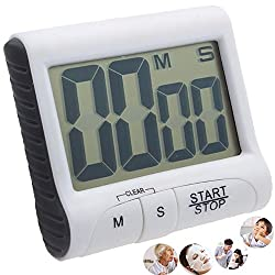 Digital Kitchen Timer,Large LCD Display Screen, Loud Sounding Alarm With Strong Magnetic Backing and Retractable Stand (1 Pack)