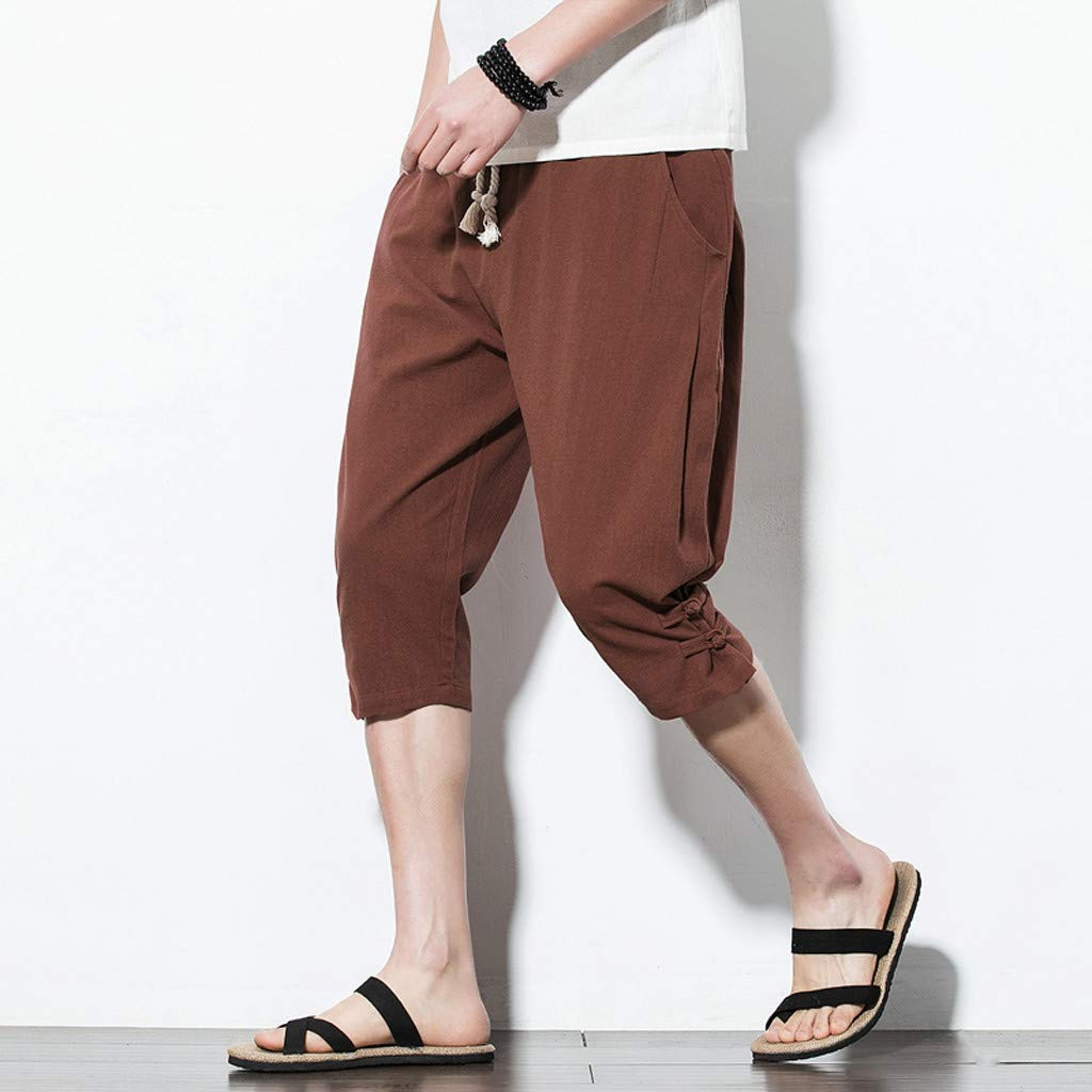 Mr.Macy Mens Summer Fashion Leisure Pure Color Button Linen Loose Calf-Length Pants