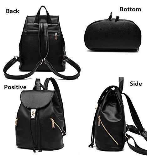 LIZHIGU Women Leather Backpack Purse Durable School Travel Bag For Girl Ladies Black