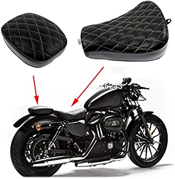Rear Passenger Cushion for Harley Sportster XL 48 72 1200X 1200V Motorcycle Diamond Front Rider Solo Seat