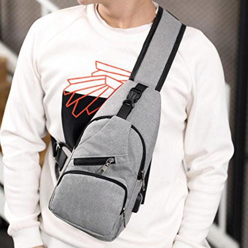 Fashion Gray Outdoor Casual Crossbody Multifunction Unisex Muium Bag Bag Chest XqzTFPw