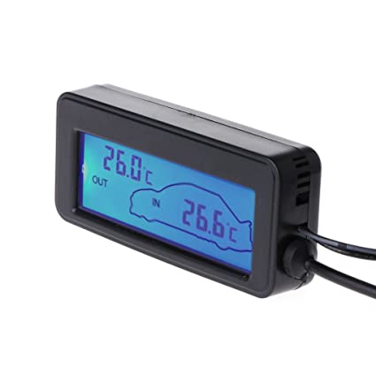 Goodqueen LCD Car Digital Thermometer - Mini 12V Vehicles Termometro Monitor Car Interior Exterior Temperature Meter