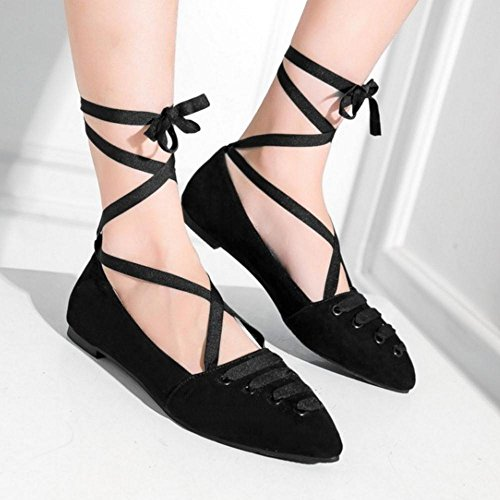 Flat Pumps Shoes Lace Pointed Women Black Up TAOFFEN Toe Comfortable q0EEwA