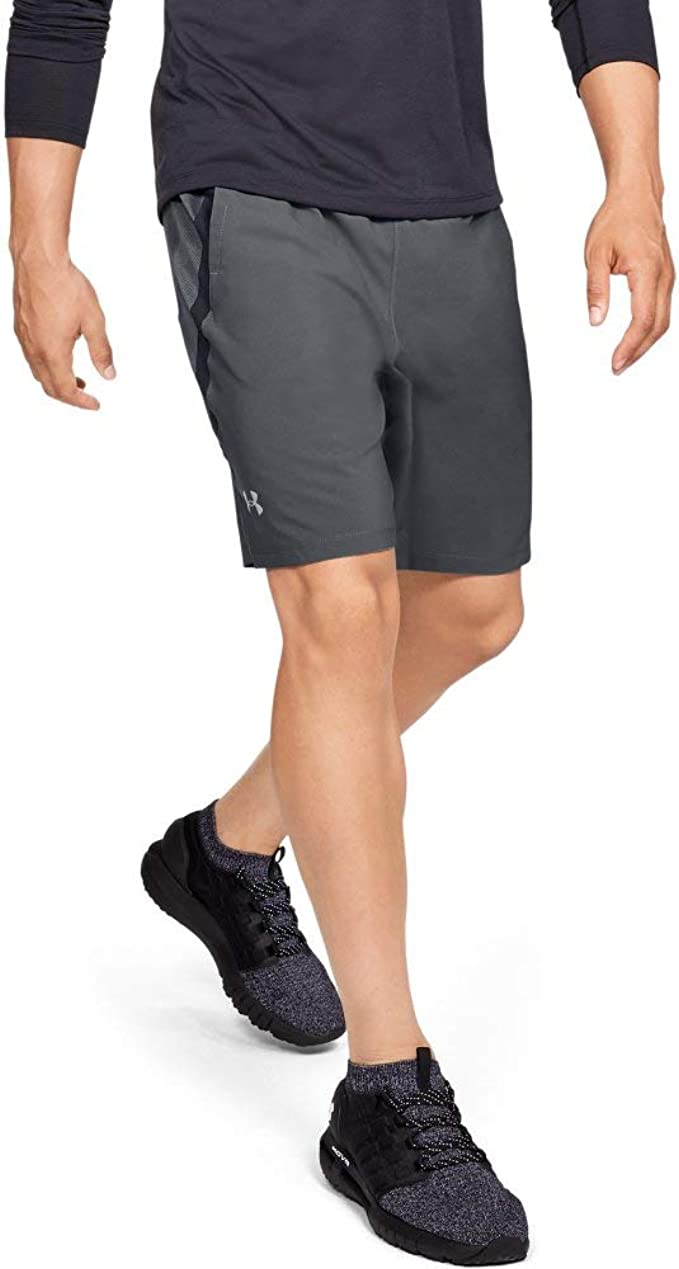 Under Armour Men's Launch Stretch Woven 9-inch Shorts, Pitch Gray (012)/Reflective, X-Large