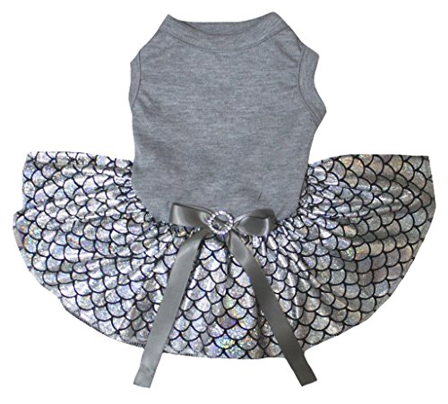 Petitebelle Plain Grey Cotton Shirt Bling Silver Fish Scales Mermaid Dog Dress (Large)