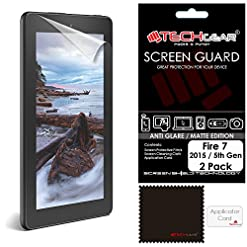 TECHGEAR [Pack of 2] Anti Glare Screen Protectors for Amazon Fire 7″ & Fire Kids Edition 7″ (5th Generation / 2015) – Premium Matte Screen Protector Covers for Fire 7 2015 (Not for New 7th Gen 2017)