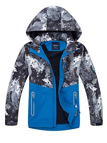 LAUSONS Gevoerde jas voor jongens, overgangsjassen voor jongens, softshelljassen met camouflagepatroon