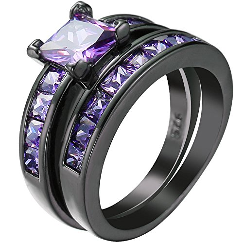Women 2 PCS Purple Amethyst Cubic Zirconia CZ Black Gold Plated Vintage Ring Engagement Wedding Band Set 7