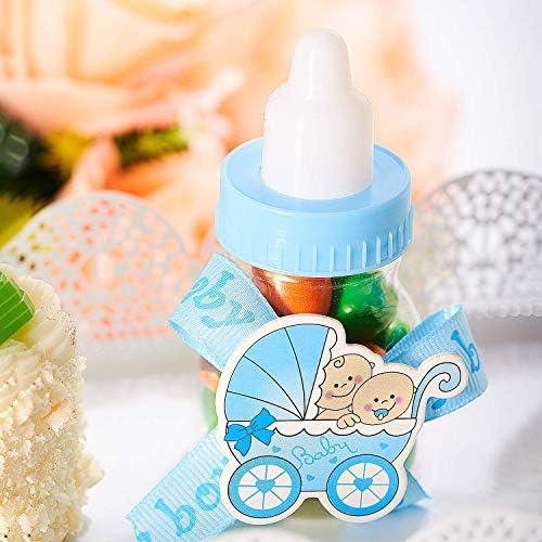 24 botellas de caramelo para baby shower, con caja de regalo, botella rellenable y 50 mini chupetes de acrílico para niños y niñas recién nacidas, bautismo, bautizo, cumpleaños, decoración de fiesta: Amazon.es: