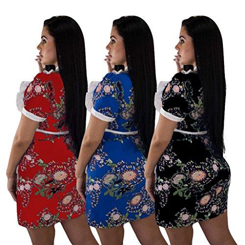 Manica Della Delle Vestito Bowknot Stampa Dell'increspatura Matita Rossa Corta Vestito Collo Aderente Donne Rotonda Floreale Davanti SAq8S