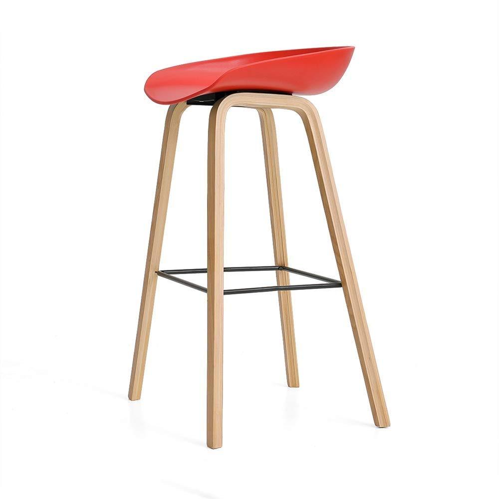 バーチェアモダンシンプルスツールPPシートブナウッドバックレストバーハイスツールカフェカウンタースツール FENPING (Color : Red) B07TXB83LG Red