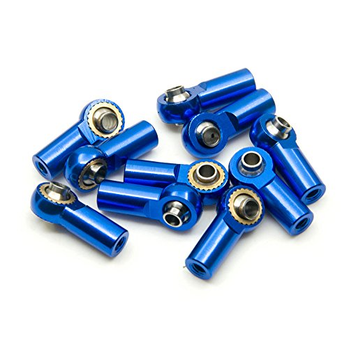 10Pcs M3 Aluminum Ball Head Holder Link Rod Ends Joint Linkage for 1/10 RC Axial SCX10 F350 D90 Etc. RC Crawler Accessories (Blue)