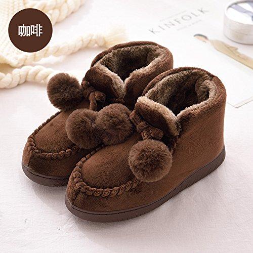 Fankou home inverno caldo cotone indoor pantofole di alta sacco con il maschio e la femmina si accoppia antiscivolo inverno spessa, 35-36, colore caffè