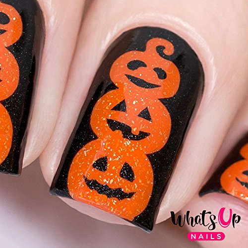 Whats Up Nails – Pumpkin Topiary Stencils Stickers Vinyls for Nail Art Design (1 Sheet, 25 Stencils)