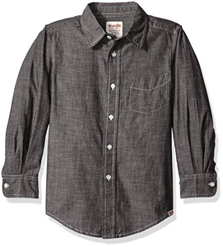 (Wrangler Authentics Big Boys' Long Sleeve Woven Shirt, Black Chambray, Large)