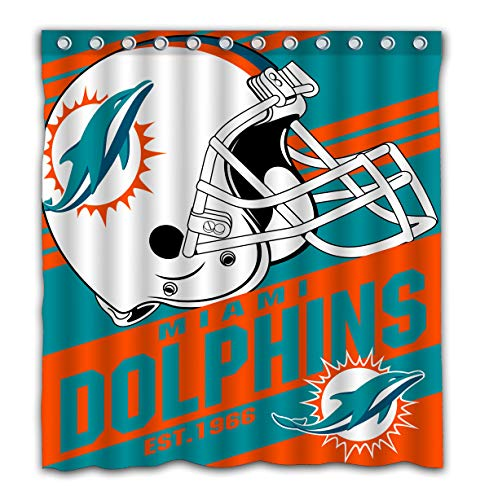 Potteroy Miami Dolphins Team Stripe Design Shower Curtain Waterproof Polyester Fabric 66x72 Inches