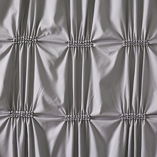 510 Design Benny Elastic Embroidery Pleated Modern Cute Bathroom Shower Curtain 72X72 Inches Grey