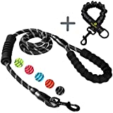 Heavy Duty Rope Dog Leash with Shock Absorbing Anti-Pull Bungee for Large and Medium Dogs, Elastic Double Two Padded 2 Handles Reflective Lead for Traffic Safety Control Training and Walking, Black