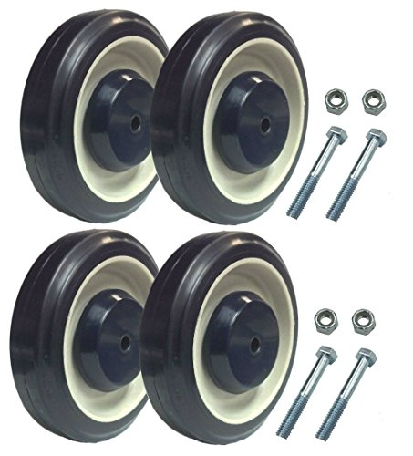Shopping Cart Replacement wheels with Axles Set of 4