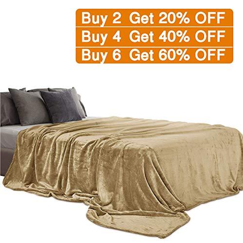 Aidear 100% Super Soft Blankets Queen Size, 350GSM Flannel Fleece Cozy Plush Blanket Winter Warm Bed Couch Fuzzy Blanket (90