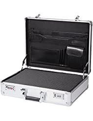 Silver Aluminum Briefcase With DIY Foam Insert Aluminum Hard Case Portable Toolbox Carrying Case Professional...