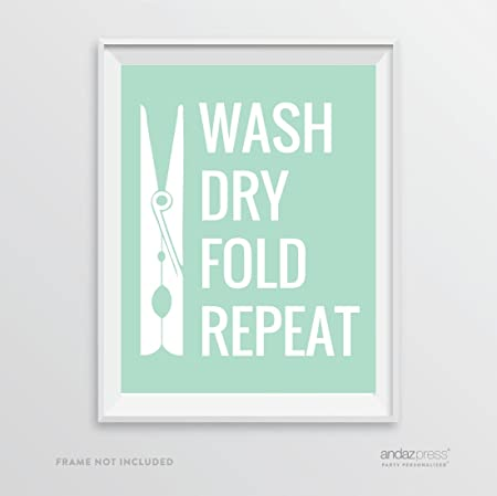 Poster For Washing Room Word Art Laundry Room Sign Wash Dry Fold Wall Art Print