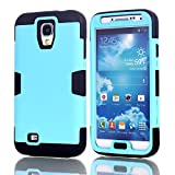 Galaxy S4 Case, LUOLNH 3-piece 3 in 1 Combo Hybrid Defender High Impact Body Armor Hard PC & silicone Case Protective Cover for Samsung Galaxy S4(Blue/Black)