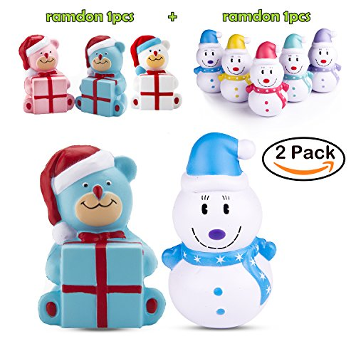 WATINC Random 2Pcs Jumbo Squishy,Kawaii Christmas Bear and Snowman Scented Slow Rising Squishy, Kid Toy, Lovely Toy,Stress Relief Toy,Decorations Toy Gift Fun