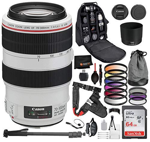 Canon EF 70-300mm f/4-5.6L IS USM Lens 8PC Accessory Bundle - Includes 3 Piece Filter Kit (UV, CPL, FLD) + 6 Piece Gradual Color Filter Kit + 72