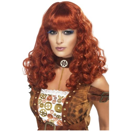Steampunk Wigs (Smiffy's Women's Long and Curly Auburn Wig with Bangs, One Size, Steampunk Wig, 5020570357552)