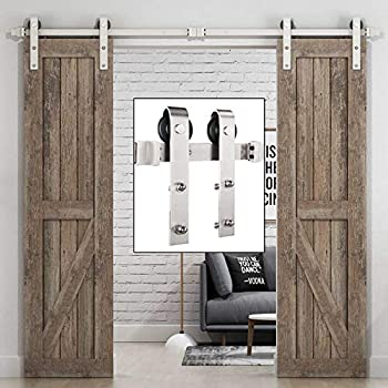 Amazon Com Easelife 8 Ft Double Door Sliding Barn Door